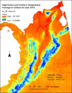 The annual mean land surface temperature for 2014 using data from the MODIS sensor on NASA's Aqua satellite.